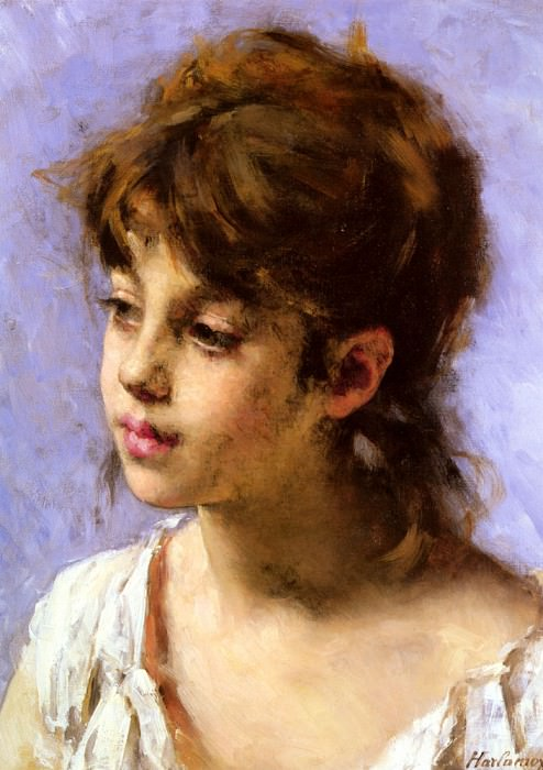Portrait Of A Peasant Girl. Alexei Alexeivich Harlamoff