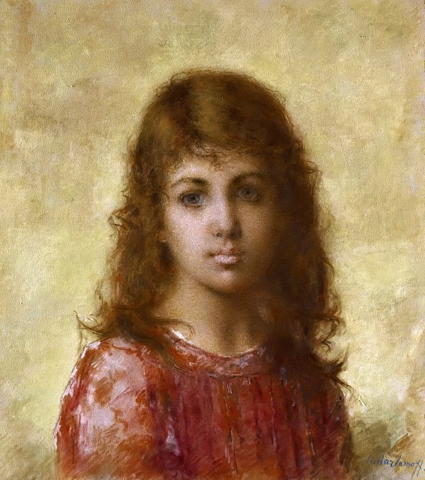 Portrait Of A Young Girl Against A Yellow Background. Alexei Alexeivich Harlamoff