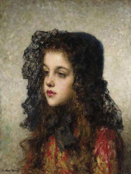 Little Girl with Veil. Alexei Alexeivich Harlamoff