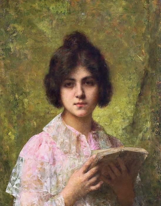 A young woman holding a book. Alexei Alexeivich Harlamoff