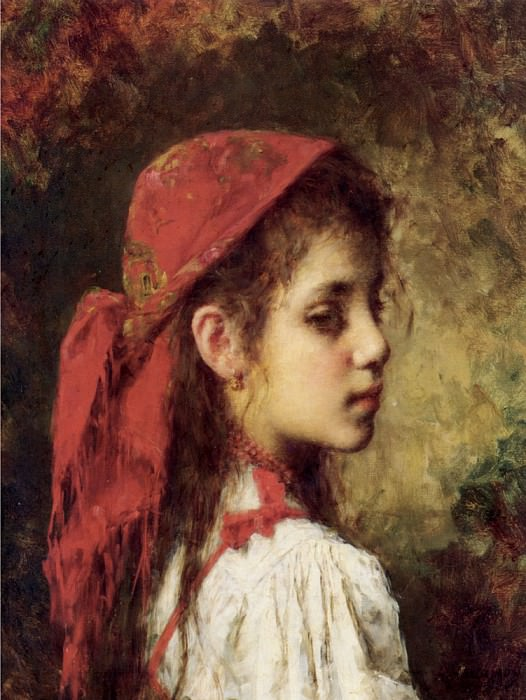 Portrait of a Young Girl in A Red Kerchief. Alexei Alexeivich Harlamoff