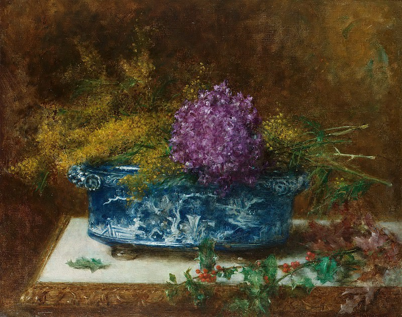 Still life with lilac and holly. Alexei Alexeivich Harlamoff