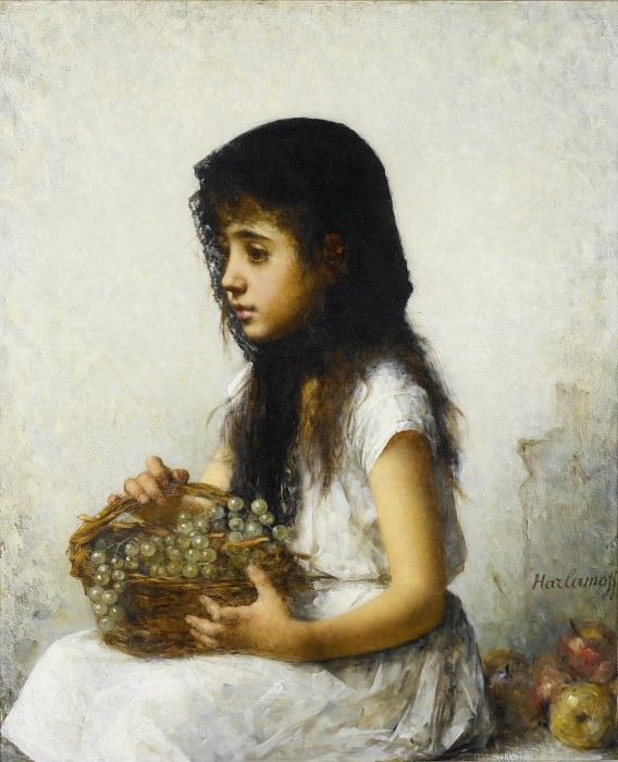 Young girl with grapes. Alexei Alexeivich Harlamoff