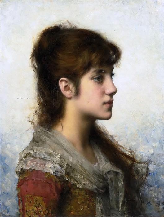 Portrait Of a Young Girl In Profile. Alexei Alexeivich Harlamoff