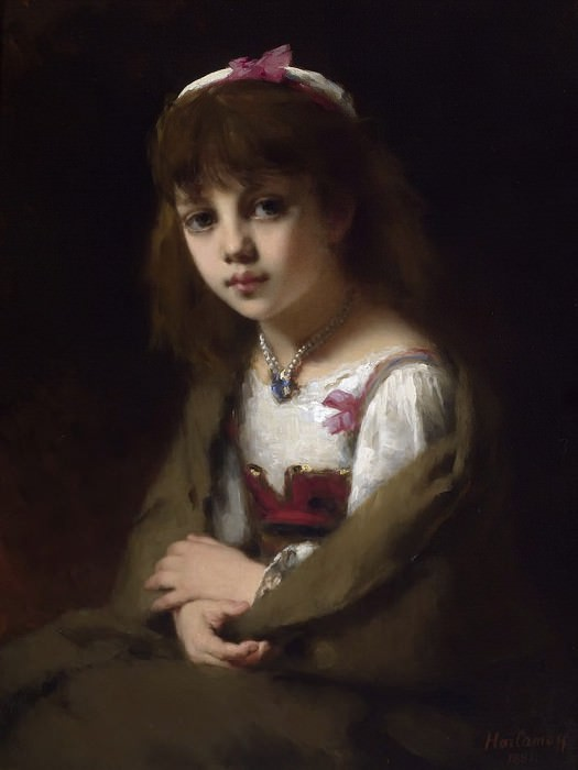 Girl with a Pearl Necklace. Alexei Alexeivich Harlamoff