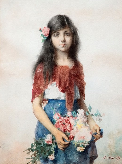 Girl with flowers. Alexei Alexeivich Harlamoff