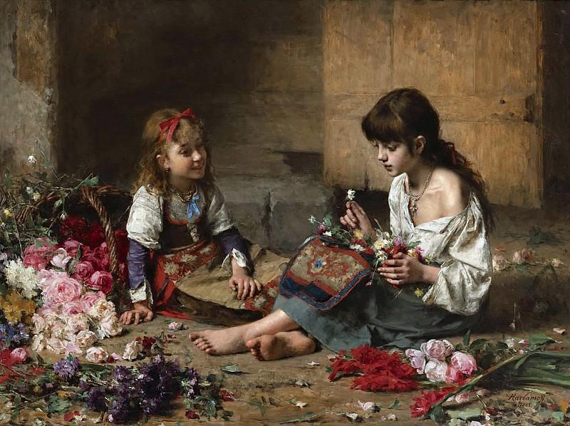 Young flower girl. Alexei Alexeivich Harlamoff