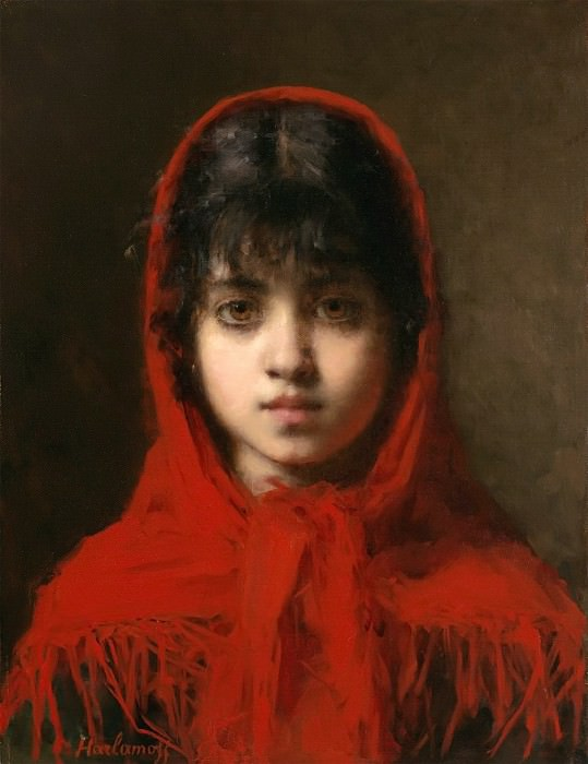 Young girl in a red shawl. Alexei Alexeivich Harlamoff