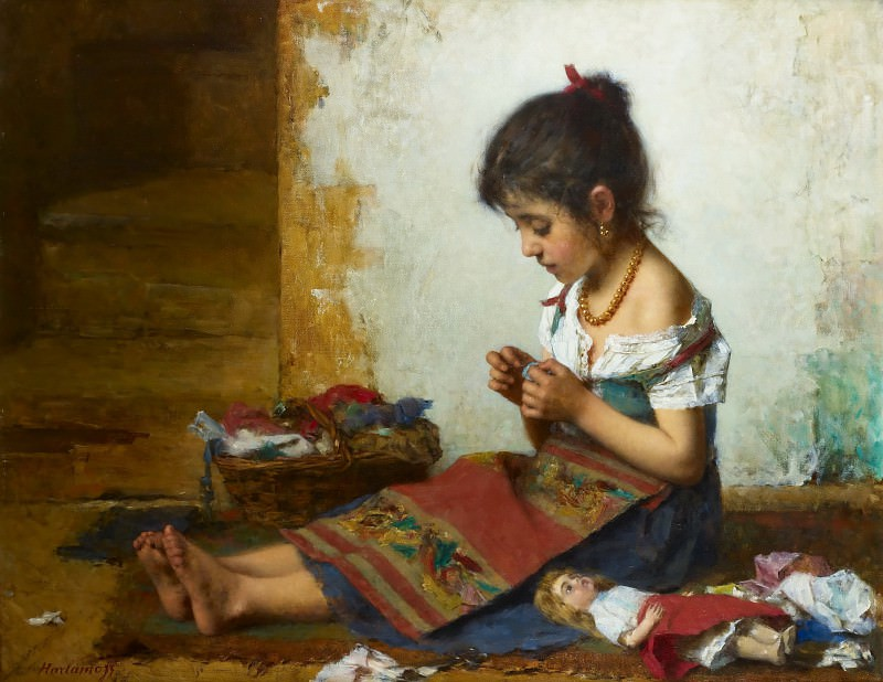 The little seamstress. Alexei Alexeivich Harlamoff