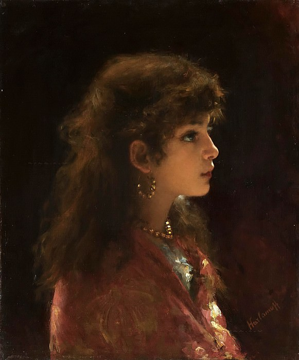 Young Girl In Profile. Alexei Alexeivich Harlamoff