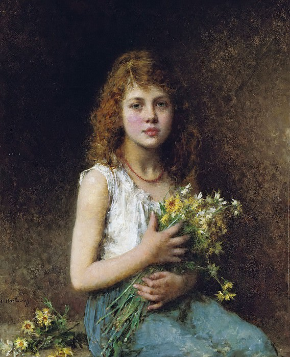 Girl with spring flowers. Alexei Alexeivich Harlamoff