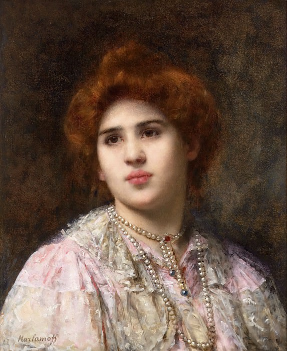 Portrait of a young girl with auburn hair. Alexei Alexeivich Harlamoff