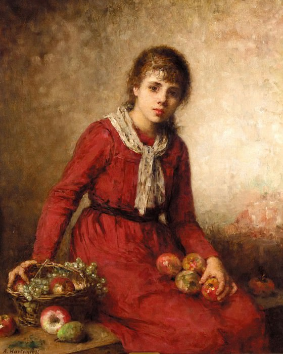 Girl with fruit. Alexei Alexeivich Harlamoff