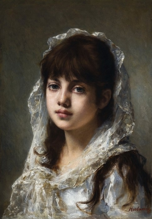 Portrait Of a Young Girl Wearing a White Veil. Alexei Alexeivich Harlamoff
