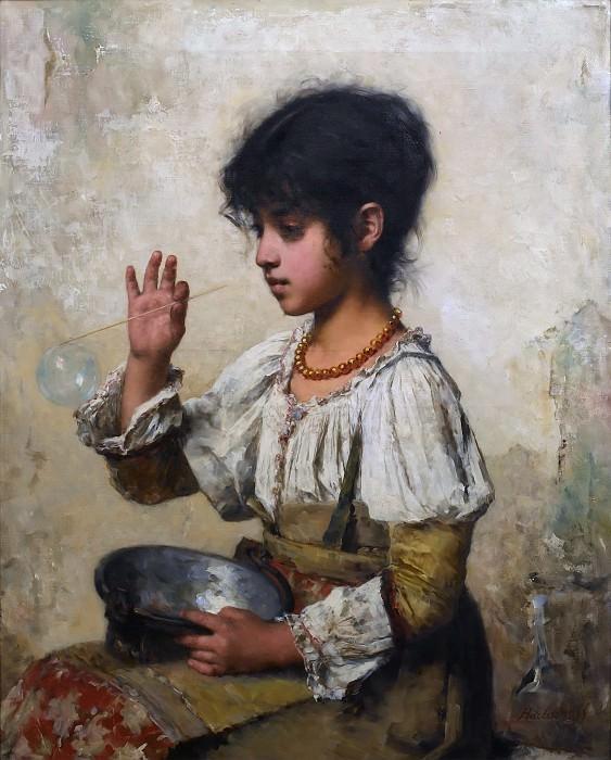 Девушка, пускающая мыльные пузыри. Алексей Алексеевич Харламов