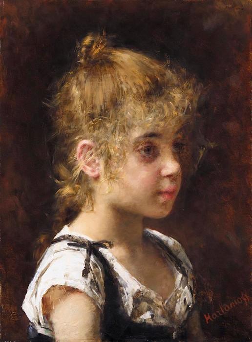 Portrait of a Young Girl. Alexei Alexeivich Harlamoff