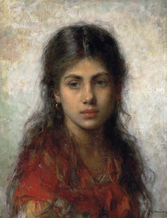 Girl with a red shawl. Alexei Alexeivich Harlamoff