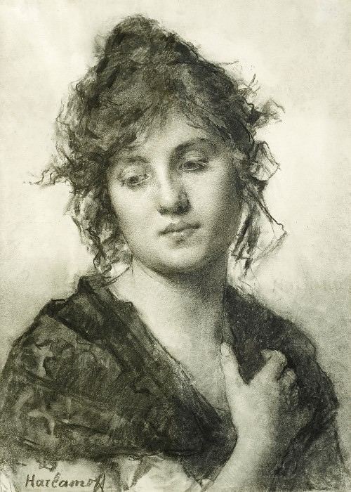 Portrait of a Young Woman. Alexei Alexeivich Harlamoff