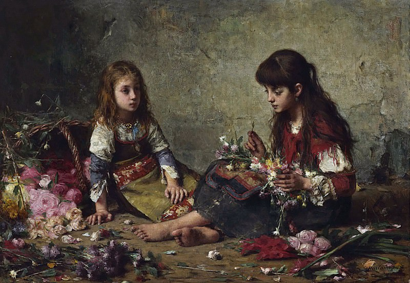 Two girls arranging flowers. Alexei Alexeivich Harlamoff
