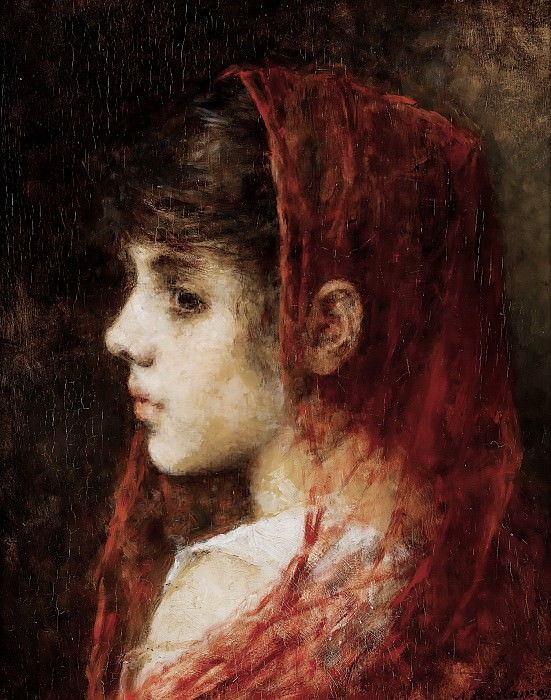 Portrait of a young girl with a red veil. Alexei Alexeivich Harlamoff