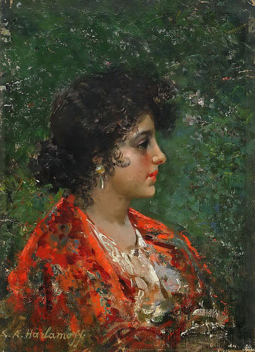 Portrait of a young lady. Alexei Alexeivich Harlamoff