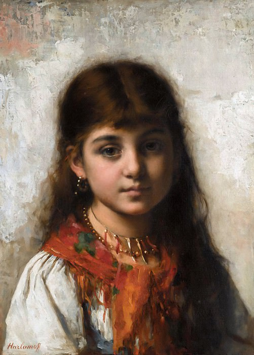 Girl with coral necklace and shawl. Alexei Alexeivich Harlamoff