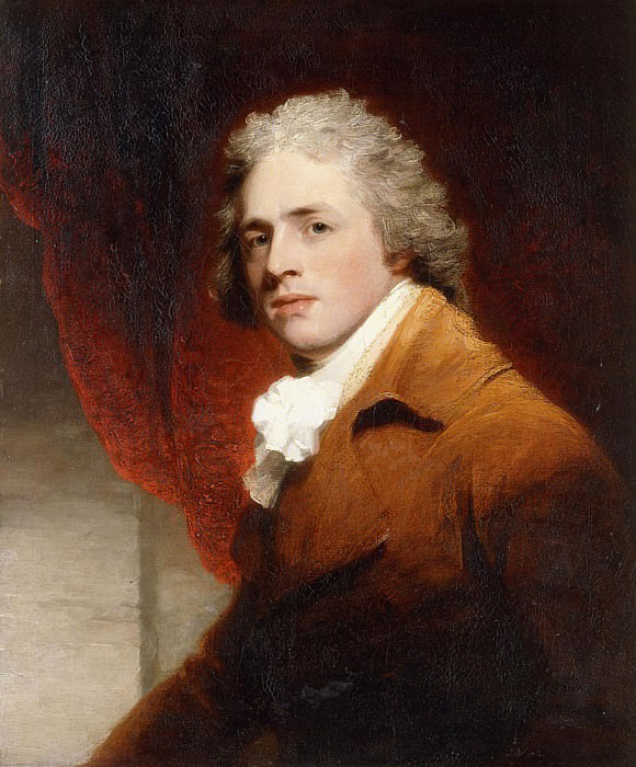 Portrait of a Gentleman, Half-Length, in a Brown and White Stock a Red Curtain Behind. John Hoppner