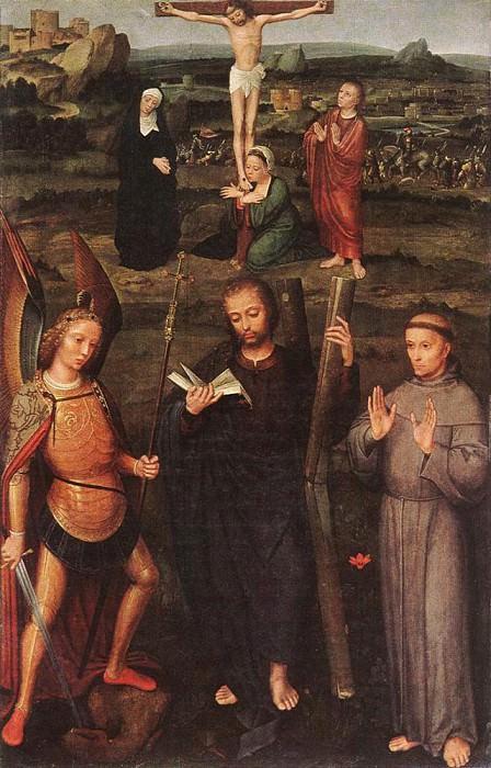 ISENBRANT Adriaen Archangel St Michael St Andrew and St Francis of Assissi. Adriaen Ysenbrandt Isenbrandt