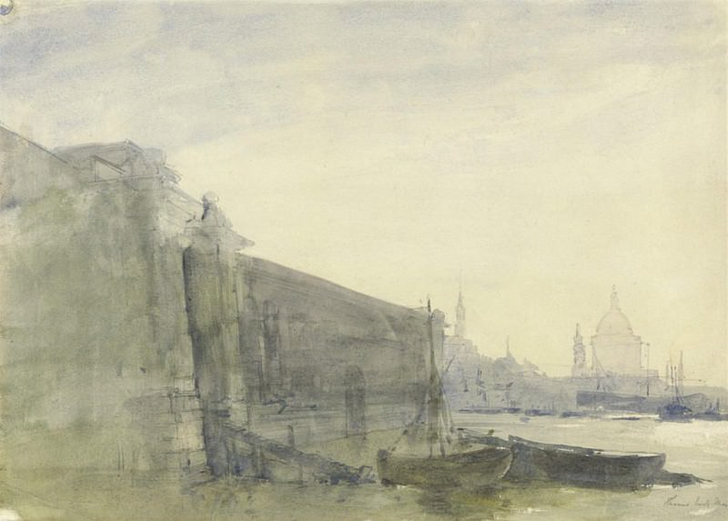 The Thames, Early Morning, Toward St. Pauls. John William Inchbold