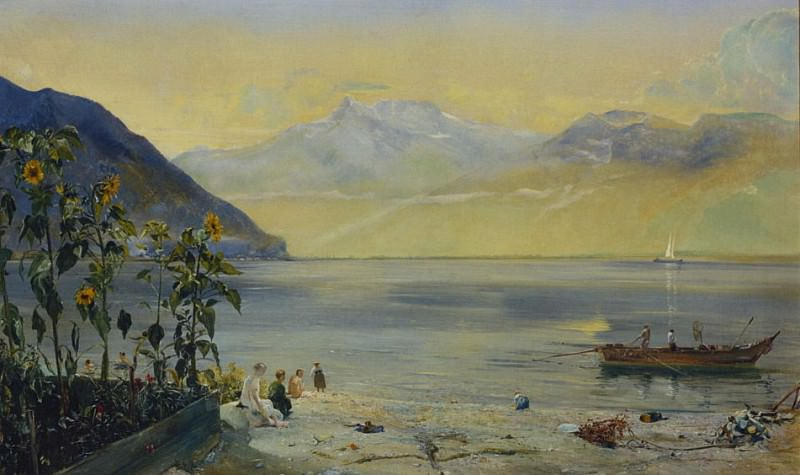 Lake Leman with the Dents du Midi in the Distance. John William Inchbold