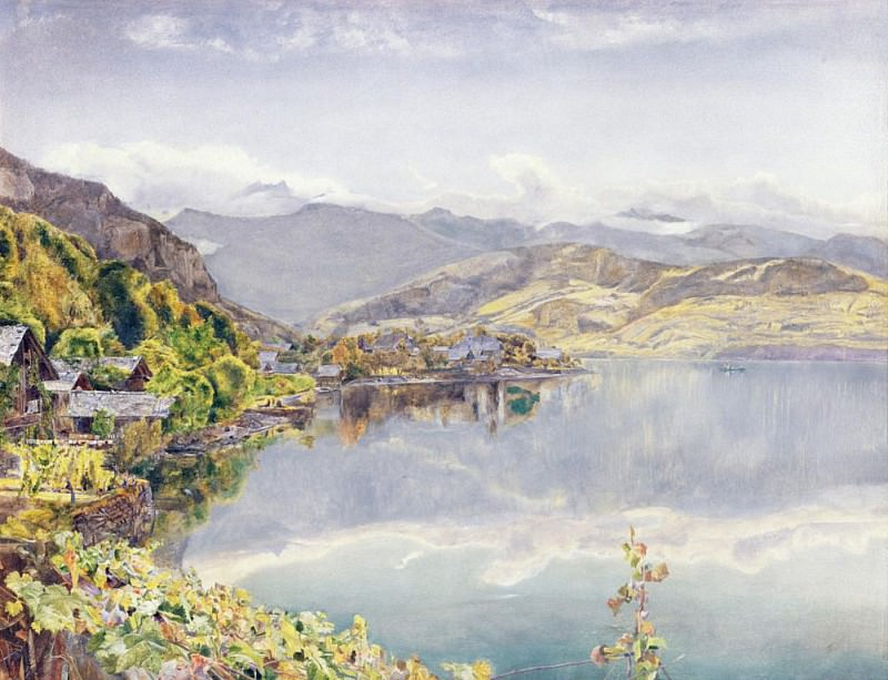 The Lake of Lucerne, Mount Pilatus in the Distance. John William Inchbold