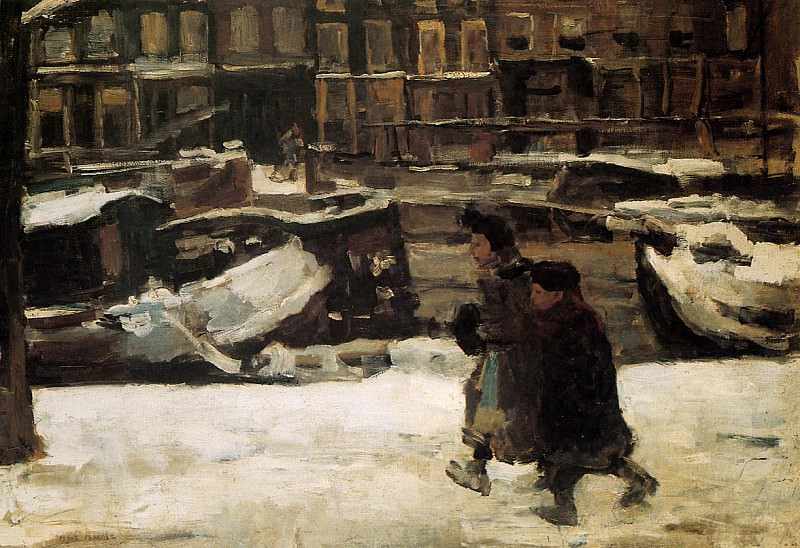 Children along the canal. Isaac Israels