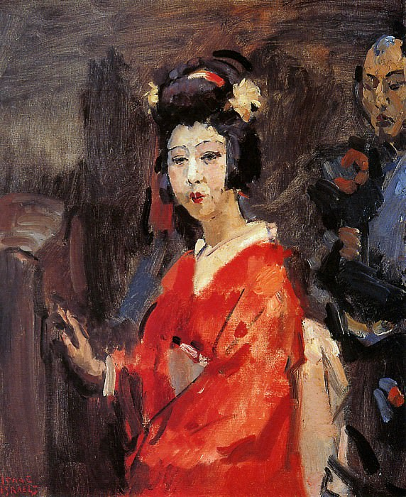 Japanese woman in red kimono. Isaac Israels