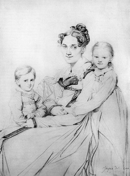 Madame Johann Gotthard Reinhold born Sophie Amalie Dorothea Wilhelmine Ritter and her two sons. Jean Auguste Dominique Ingres