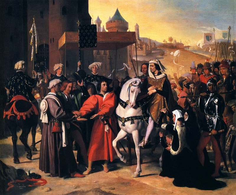 Entrance of Dauphin, future Charles V, to Paris. Jean Auguste Dominique Ingres