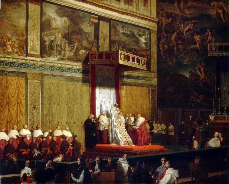 Папа Пий VII в Сикстинской капелле. Жан Огюст Доминик Энгр
