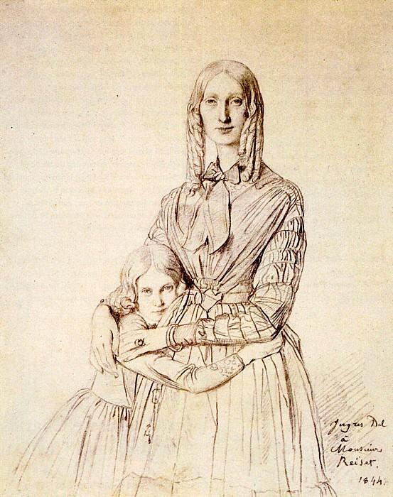 Madame Frederic Reiset born Augustine Modeste Hortense Reiset and her daughter Therese. Jean Auguste Dominique Ingres