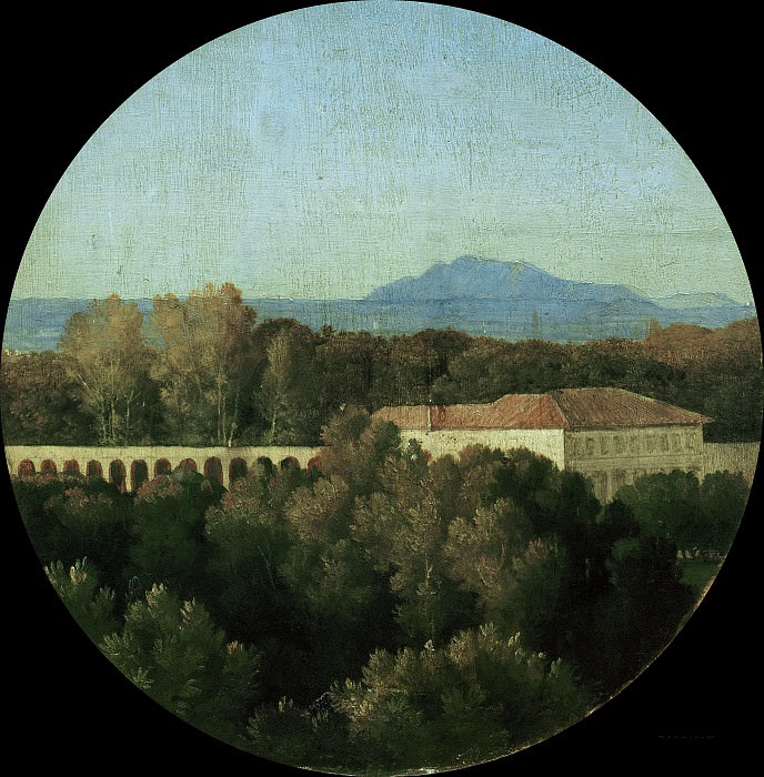 Roman landscape with acuaduct of the Villa Borghese. Jean Auguste Dominique Ingres
