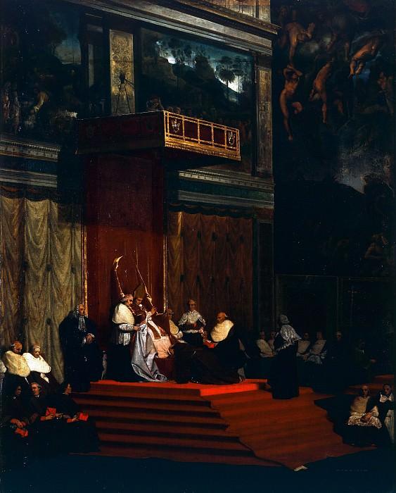 Pope Pius VII into Chapel. Jean Auguste Dominique Ingres