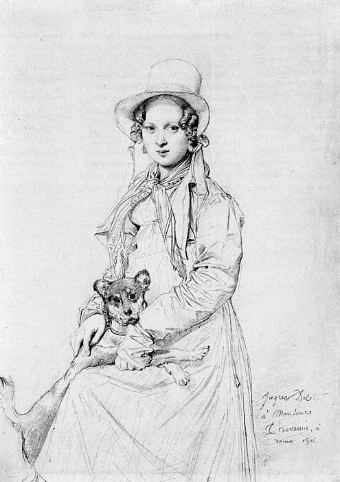 Ingres Mademoiselle Henriette Ursule Claire Thevenin and her dog Trim. Jean Auguste Dominique Ingres