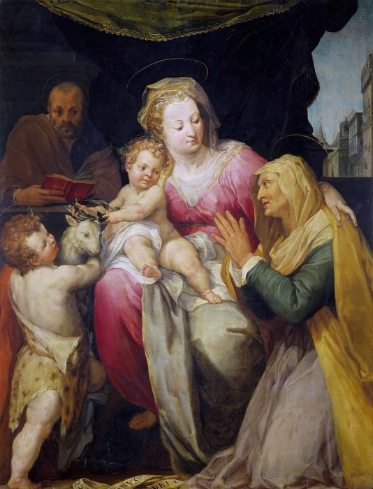 Holy Family with Saints Anne and Infant John the Baptist. Pieter de (Peter Candid) Witte