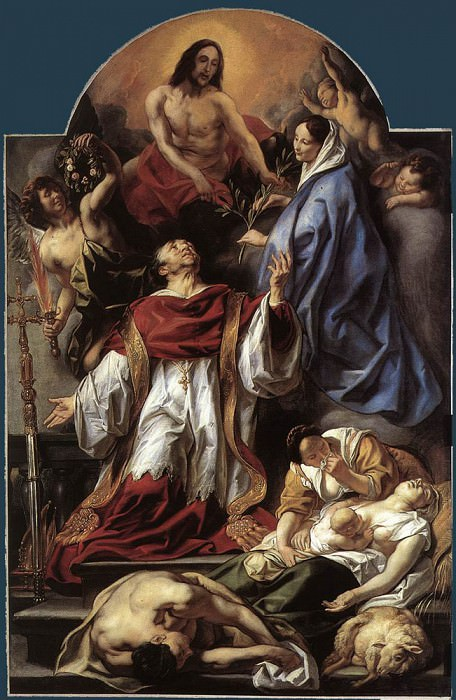 St Charles Cares for the Plague Victims of Milan. Jacob Jordaens