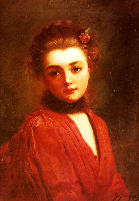 Portrait Of A Girl In A Red Dress. Gustave Jean Jacquet