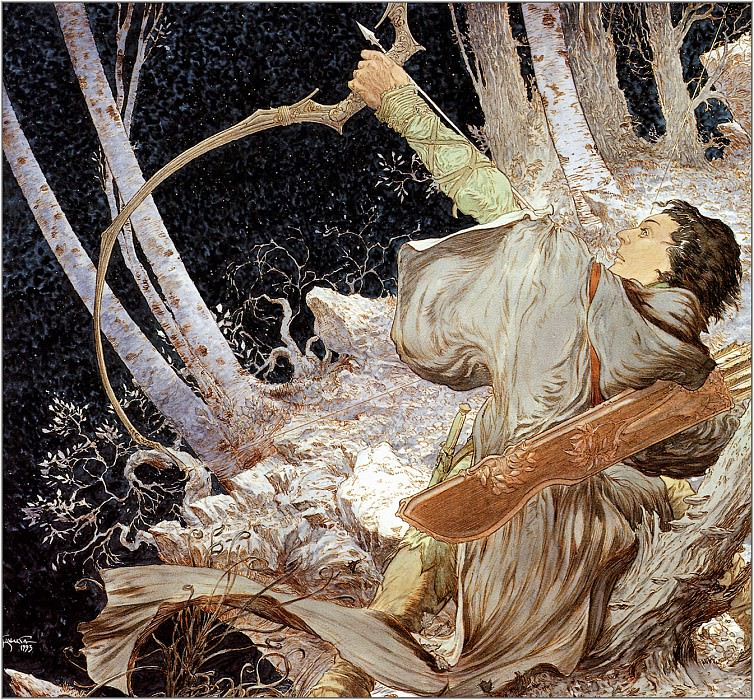 Legolas Draws the Bow of Galadriel. Micheal Kaluta