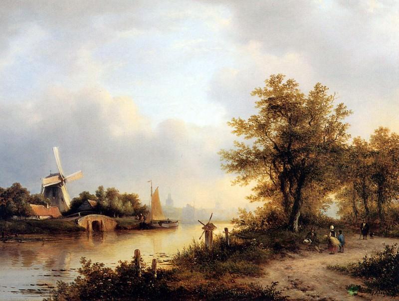 Kleijn Lodewijk Johannes River landscape Sun. Lodewijk Johannes Kleijn