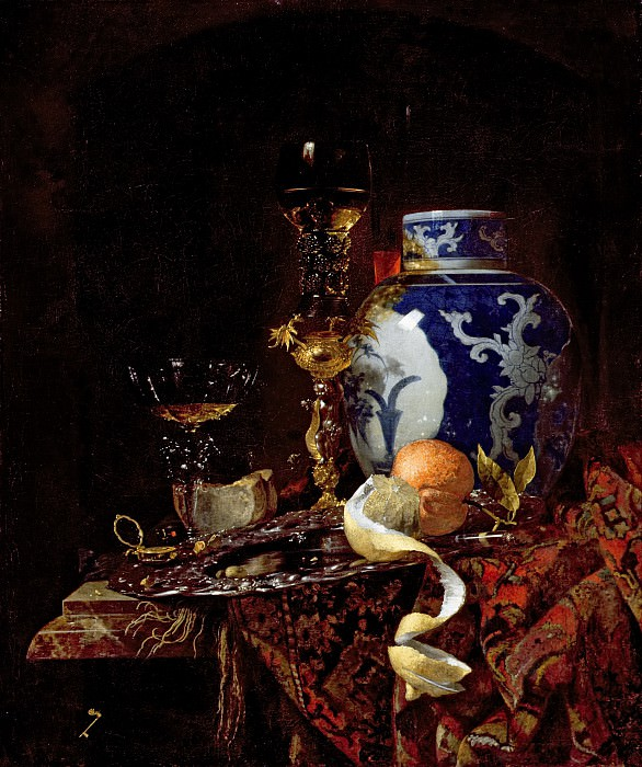 Still Life with a Chinese Porcelain Jar. Willem Kalf