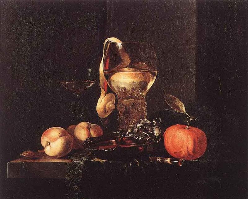 Натюрморт с серебряным блюдом, стеклянными бокалами и фруктами. Виллем Кальф