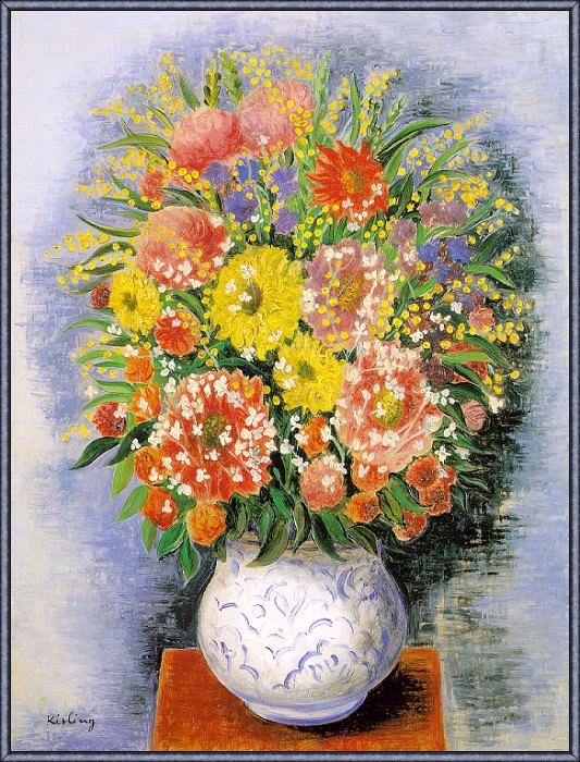Kisling Bouquet-de-Fleurs-Variees-et-Mimosa-sj. Kisling