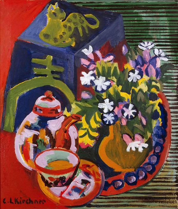Still Life with Chinese Porcelain. Ernst Ludwig Kirchner