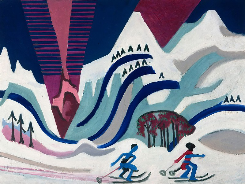 Snow mountains with skiers. Ernst Ludwig Kirchner